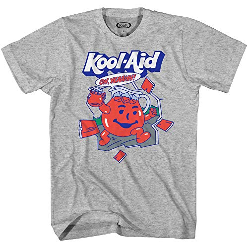 Kool-Aid Mens Oh Yeah Shirt Drink Mix Man hy Yeah Graphic T-Shirt (Grey Heather, Large)
