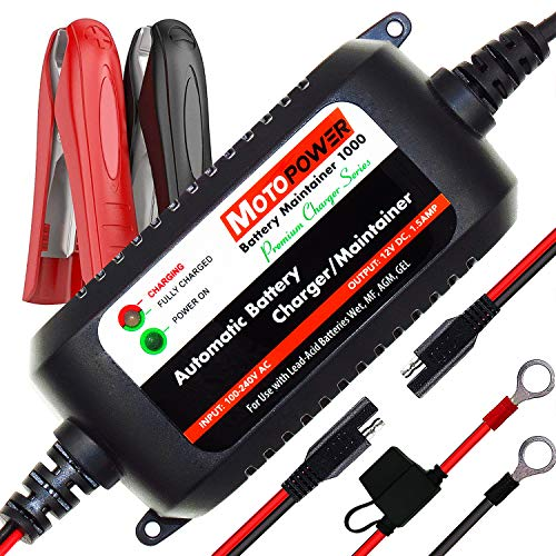 MOTOPOWER MP00206A 12V 1.5Amp Automatic Battery Charger, Battery Maintainer for Cars, Motorcycles, ATVs, RVs, Powersports, Boat and More. Smart, Compact and Eco Friendly