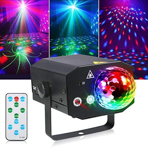 Litake Party Lights + Disco Ball 2 in 1 Dj Disco Stage Lights LED Projector Strobe Light【Metal】, Sound Activated with Remote for Christmas Birthday Wedding Dance Club Holiday Show Home Karaoke Decor