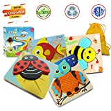 Wooden Puzzles for Toddlers, Animal Jigsaw Puzzles Early Educational Toys for Toddlers Baby Infant Kids, 1 2 3 Years Old with Bright Vibrant Colors