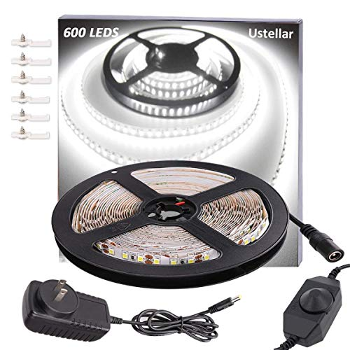 Ustellar Dimmable 600 LED Light Strip Kit with Power Supply, SMD 2835 LEDs, Super Bright 16.4ft/5m 12V LED Ribbon, Non-Waterproof, 6000K Daylight White Under Cabinet Lighting Strips, LED Tape