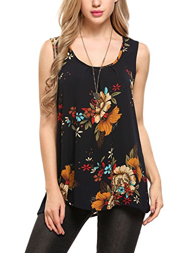 Zeagoo Women's Sleeveless Summer Flowy Top Chiffon Floral Loose Tunic Tank Tops, Floral 1, Small