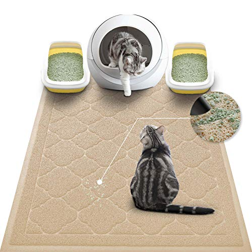 WePet Cat Litter Mat Jumbo, Kitty Litter Trapping Mess Mat, XXLarge Size, 47 x 36 Inch, Premium Durable Soft PVC Rug, No Phthalate, Urine Waterproof, Washable, Scatter Control, Litter Box Pad, Beige