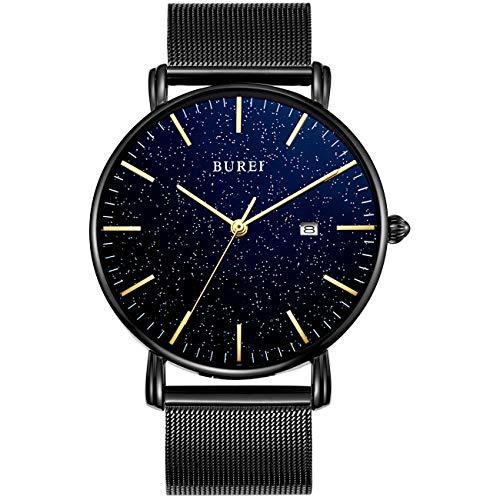BUREI Men's Watch Ultra Thin Quartz Analog Wrist Watch Date Calendar Stainless Steel Mesh Band