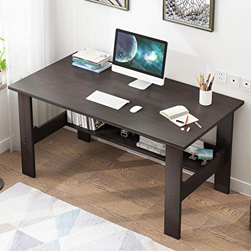 Mlide Office Desk,Simple Two-Story Computer Desk Wood Writing Desk Computer Table for Home Office 39.4x17.7x28.3 inch (Black)