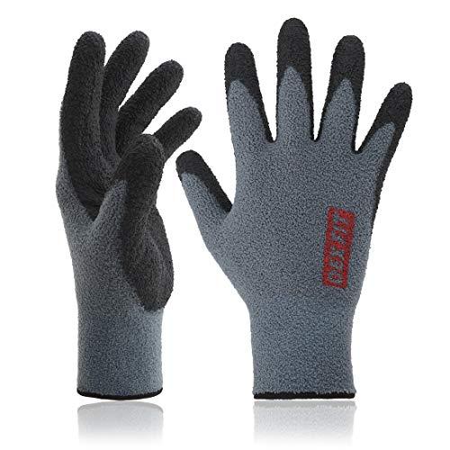 DEX FIT Warm Fleece Work Gloves NR450, Comfort Spandex Stretch Fit, Power Grip, Thin & Lightweight, Durable Water-Based Nitrile Rubber Coating, Machine Washable, Grey Medium 3 Pairs