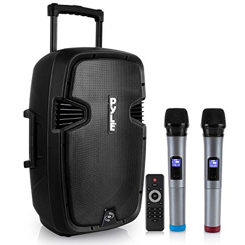 Pyle PPHP1299WU.5 Karaoke Portable PA Speaker System - 1000W Active Powered Wireless Bluetooth Compatible Outdoor Speaker W/Rechargeable Battery, Wheels, USB MP3 RCA, 2 UHF Microphone, Remote, Black
