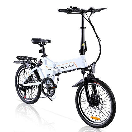 Yovital Electric Bicycle,Folding 20' Electric City Bike with Removable Battery Pedal Assist Power,3 Riding Modes,Electric Assist,Keylock,and 350W Brushless Motor
