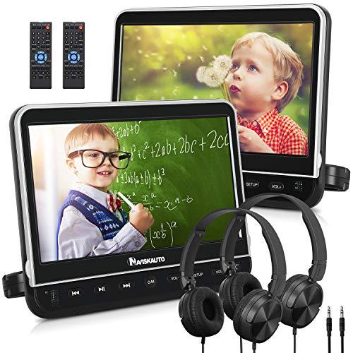 NAVISKAUTO 10.1' Dual Car DVD Players with HDMI Input 2 Headphones Mounting Bracket Support 1080P MP4 Video Region Free(2 x Headrest DVD Players)