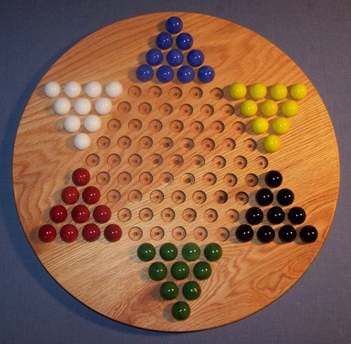 Wooden Marble Game Board - Chinese Checkers - Oiled - 18' circle, Red Oak