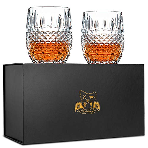 Unique Whiskey Glasses Set of 2. Ultra Clarity Glass Rocks Tumblers (10oz). 'Crystal Cask' by Van Daemon for Whisky, Liquor, Bourbon or Scotch. Perfectly Gift Boxed Lead Free Crystal.