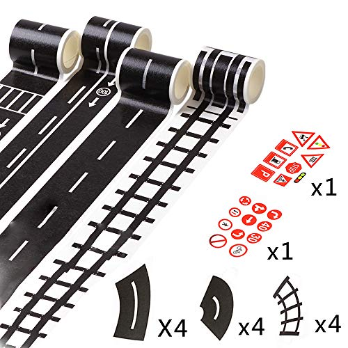 GardenHelper Set of 18 Road Tape, Fun Play Tape for Car Toys for Kids Toy Cars, 4 Rolls of 16.4ft x 1.89 inch Black Road, 12 Pack of Tight Curves, 2 Pack of Traffic Sign
