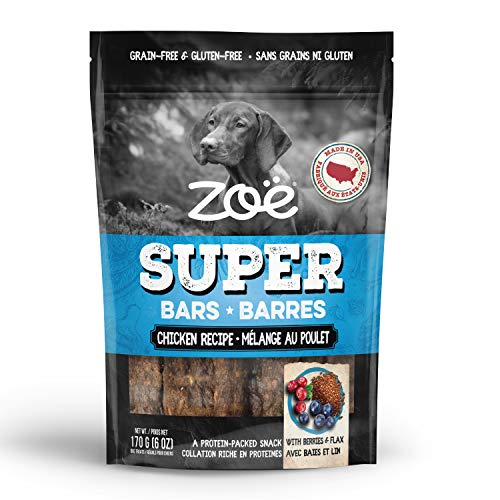 Zoë Super Bar Natural Dog Treats, Protein-Packed, Grain-Free and Gluten-Free, Made in the USA Only, Chicken Recipe, 6 oz., 92015