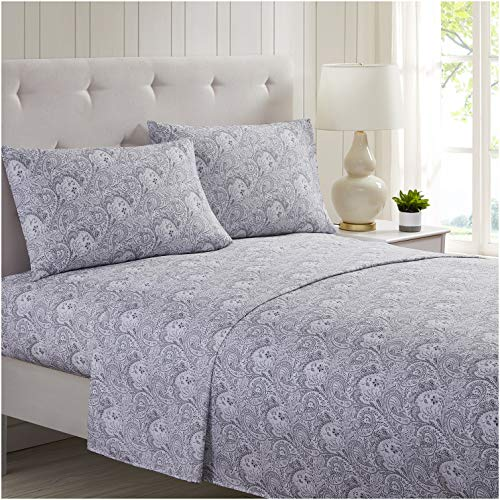 Mellanni Bed Sheet Set Brushed Microfiber 1800 Bedding - Wrinkle, Fade, Stain Resistant - 4 Piece (Cal King, Paisley Gray)