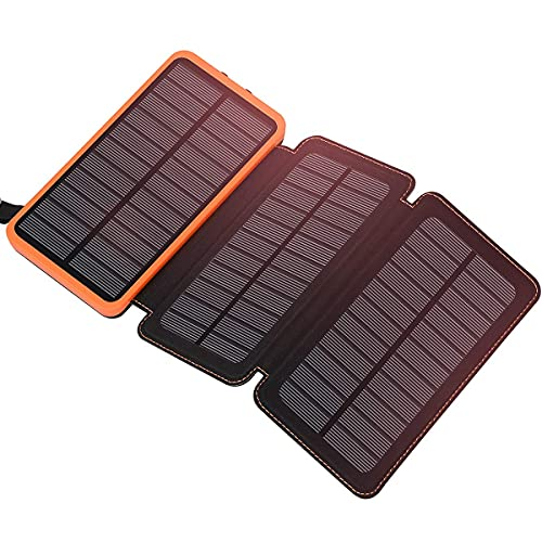 Solar Charger 24000mAh FEELLE Portable Solar Power Bank with 3 Foldable Solar Panels and Dual Outputs Phone Charger External Battery Pack for iPhone, Smartphones, Tablets and More