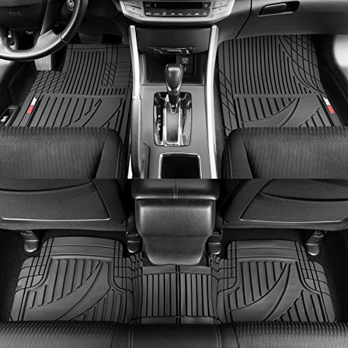 FlexTough Advanced Performance Rubber Floor Mats for Car SUV Auto Truck, 3pc Front & Rear Liner Set, All Weather Plus Protection