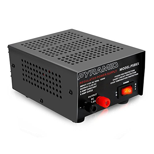 Universal Compact Bench Power Supply - 6 Amp Linear Regulated Home Lab Benchtop AC-to-DC 12V Converter w/ 13.8 Volt DC 115V AC 100 Watt Power Input, Screw Type Terminals, Cooling Fan - Pyramid PS8KX