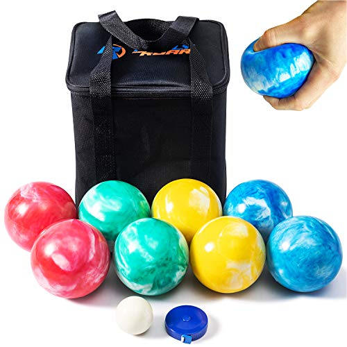 Rally and Roar SOFT Rubber 84mm Bocce Ball Set for Indoor/Outdoor by Rally & Roar- Complete Bocce Lawn Game with Carrying and Storage Case - All Weather, Fun Anywhere - Beach, Backyard Lawn Party Game