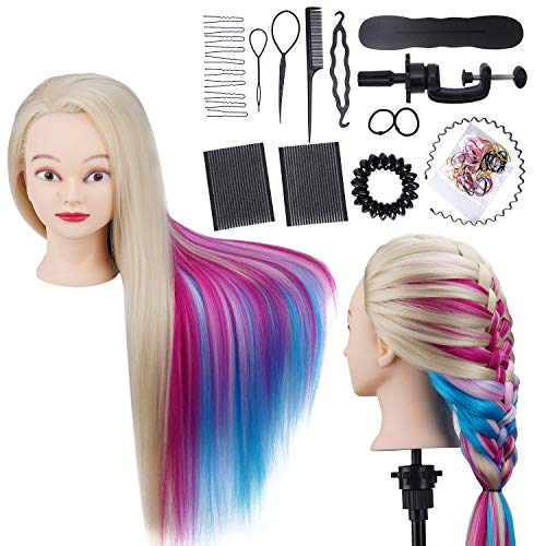 Training Head 28in Hairdressing Head Rainbow Synthetic Fiber Hair Mannequin Cosmetology Manikin Dolls Head for Hairdresser Styling Practicing with Free Clamp + DIY Hair Styling Braid Set