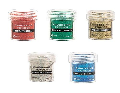 Cardmaking: Tinsel Heat Embossing - Ranger Glitter Tinsel Embossing Powders - 5 Item Bundle