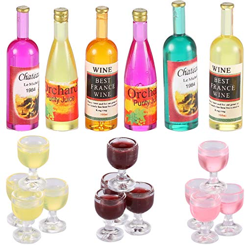 18 Pieces Dollhouse Wine Bottles Champagne Cups for Doll Miniature Wine Glasses Goblet Cups Mini Red Wine Bottles Miniature Drink Bottles Kitchen Accessories for Dollhouse Decors (Red Wine Style)