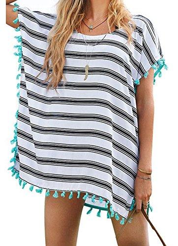 Yonala Women's Stripe Chiffon Trim Beachwear Bikini Cover-Up,Stripe,One Size