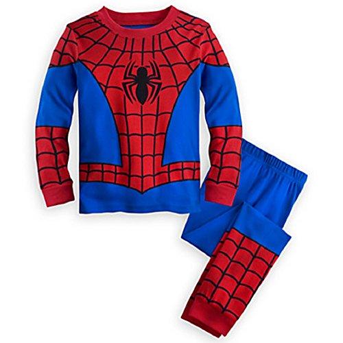 Disney Store Deluxe Spiderman Spider Man PJ Pajamas Boys Toddlers (M Medium 7), Red