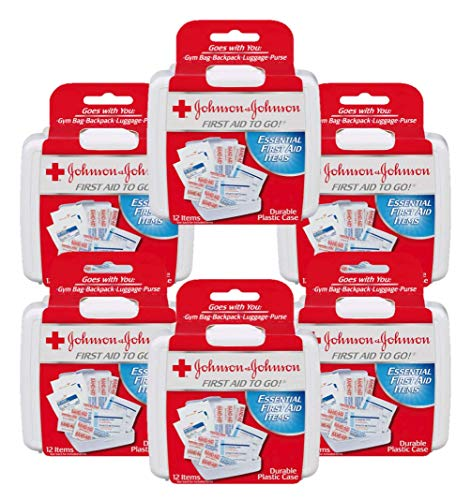 Johnson & Johnson First Aid to Go (Mini First-Aid Kit with 12 Items) Pack of 6 Kits