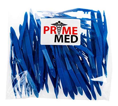 PrimeMed Plastic Blue Forceps/Tapered Tweezers at Bulk Pricing (25 Pack)