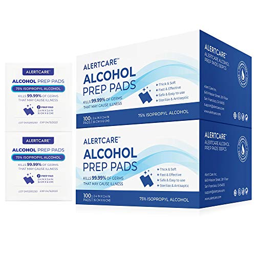 Alcohol Prep Pads, 75% Alcohol Cotton Slices, 200 Pcs Alcohol Gauze Pads Individually Wrapped Swap Pad Wet Wipe, 6 x 6cm/2.36in x 2.36in
