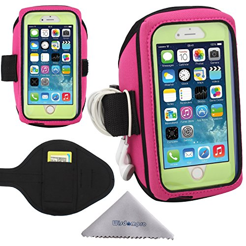 Wisdompro iPhone 6, 6s Armband, Galaxy S7, S6, S5 Running Armband for OtterBox Defender or Commuter Series Or Lifeproof Cases (Card Holder and Headphones Organizer) - Hot Pink (Small-Medium Size)