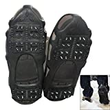 AGOOL Ice Cleats Traction Cleats Ice Grip Snow Grippers Non-Slip Over Shoe Rubber Spikes Crampons Anti Slip Crampons Stretch Footwear (Without Velcro Strap, Large(7.5-10 men/9-11 Women))