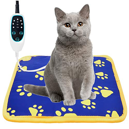 """Puppy Love Cat Heating Pad Safe Outdoor with Timer and Temperature Adjustable Pet Heating pad Waterproof with Chew Resistant Cord, Pet Warming Pad Mat for Cats and Dogs (18"""" X 18"""")"""