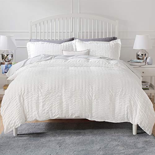 Bedsure Duvet Cover Set King Size (104 x 90 inches) - Seersucker Stripe - 3 Pieces (1 Duvet Cover + 2 Pillow Shams), White - Ultra Soft Microfiber - Duvet Covers with Zipper Closure, Corner Ties