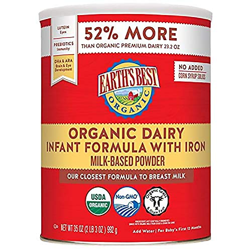 Earth's Best Organic Dairy Infant Powder Formula with Iron, Omega-3 DHA and Omega-6 ARA, 35 oz. (Pack of 4)
