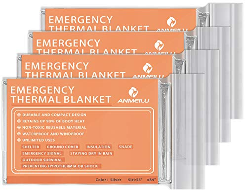 QIO Chuang Emergency Mylar Thermal Blankets -Space Blanket Survival kit Camping Blanket (4-Pack). Perfect for Outdoors, Hiking, Survival, Bug Out Bag ,Marathons or First Aid