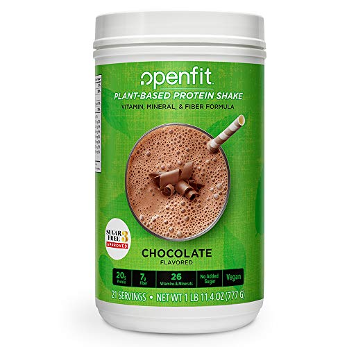 New! Openfit Plant-Based Protein Shake, Deliciously Healthy Chocolate with No Added Sugar (21 Servings, 11.4 Ounces)