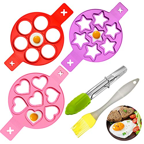 Reusable Silicone Egg Rings,Non-Stick Fried Egg Molds for Egg Cooking Breakfast Sandwiches,3 Egg Rings with Silicone Brush and Food Clip,7 Holes,Food Grade