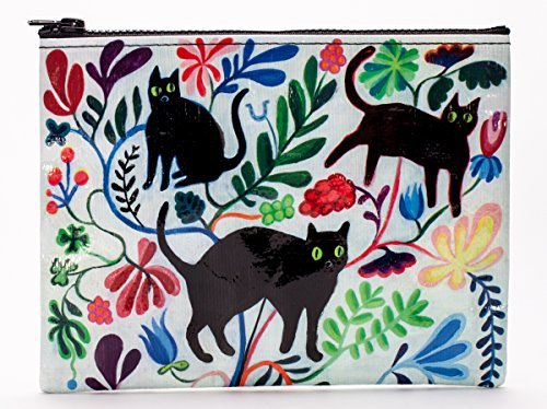 Blue Q Zipper Pouch, Here Kitty. Great for organizing larger bags. Features a chunky sturdy zipper, easy-to-wipe-clean, made from 95% recycled material, 7.25'h x 9.5'w