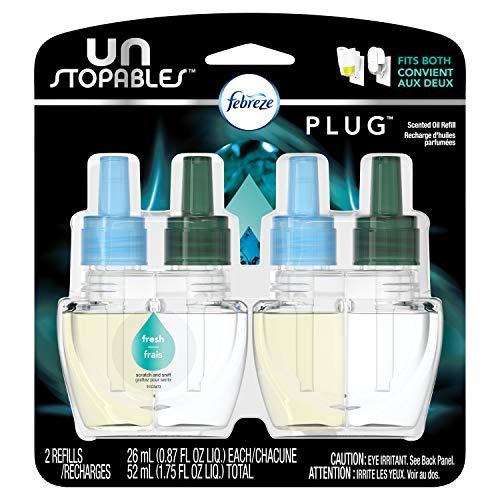 Febreze Plug in Air Fresheners, Unstopables Fresh, Odor Eliminator, Scented Oil Refill, 2 Count