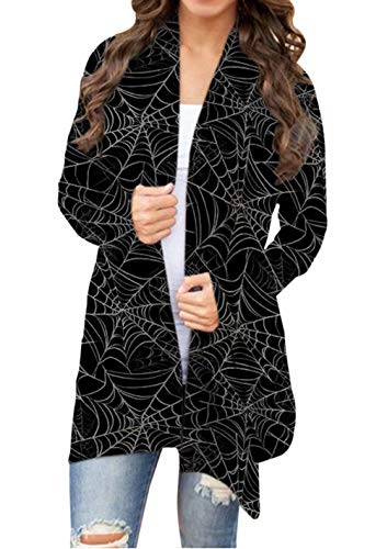 Halloween Print Cardigan for Womens Halloween Spider Web Open Front Long Sleeve Knit Cardigan Sweater Loose Outwear, L