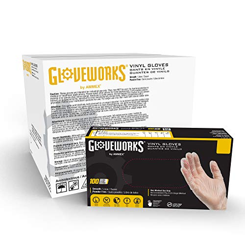 GLOVEWORKS Clear Vinyl Industrial Gloves, Case of 1000, 3 Mil, Size Medium, Latex Free, Powder Free, Food Safe, Disposable, Non-Sterile, IVPF44100