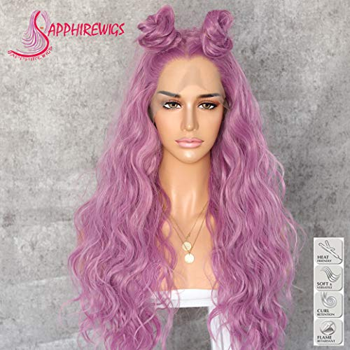 Sapphirewigs Long Light Purple Color Daily Queen Valentine's Day Gift Daily Makeup Synthetic Lace Front Wedding Party Wigs