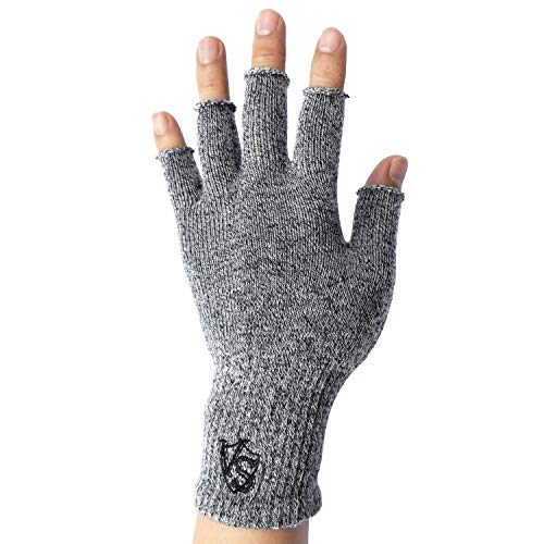 Vital Salveo Stretchy Unisex Half Finger Typing Texting Circulation Fingerless Recovery Gloves (Pair)-S/M-Light Grey