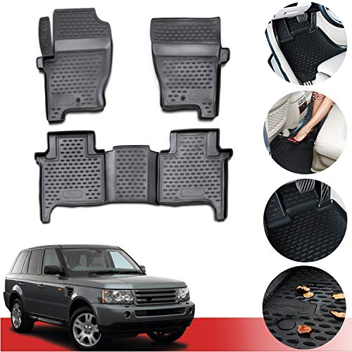 OMAC Complete Set Custom Fit Liner - All Weather Performance 3D Molded Black Rubber Floor Mat - Fits Land Rover Range Rover Sport 2006-201