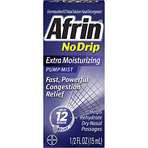 Afrin No Drip 12 Hour Pump Mist, Extra Moisturizing, .5-Ounce Pumps (Pack of 3)