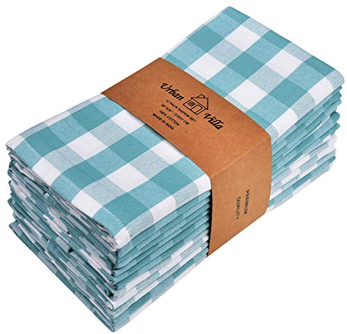 Urban Villa Dinner Napkins, Everyday Use,Premium Quality,100% Cotton, Set of 12, Size 20X20 Inch, Aqua/White Over Sized Cloth Napkins with Mitered Corners, Ultra Soft, Durable Hotel Quality