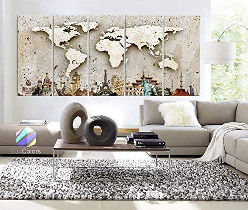 Original by BoxColors Xlarge 30'x 70' 5 Panels 30x14 Ea Art Canvas Print Original Wonders of the world Wall Texture Map travel Wall decor Home interior (framed 1.5' depth)