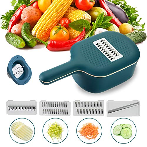 WOONEY Mandoline Slicer, Onion Chopper, Cheese Grater with 4 Stainless Steel Interchangeable Blades for Vegetable, Fruits, Cheese (Dark Blue)