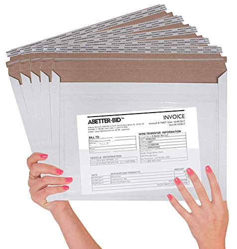 10 Pack Mailjackets Rigid Mailers 12.5 x 9.5 with the pocket. Large Paperboard Envelopes 12 1/2 x 9 1/2 long size opening. Stay flat, Compatible with USPS Express mail envelopes. Peel and Seal